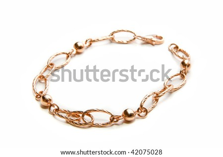 Beauty gold bangle on a white background