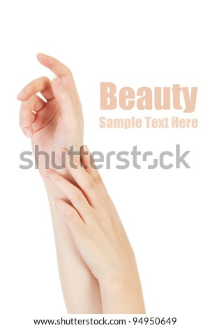 Beauty hands on white background.