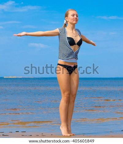 Beauty Happiness Beach  - stock photo