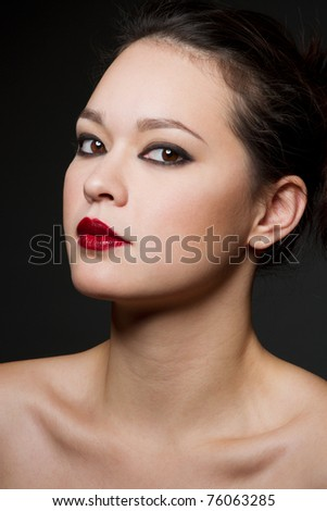 Beauty headshot of an attractive asian woman.