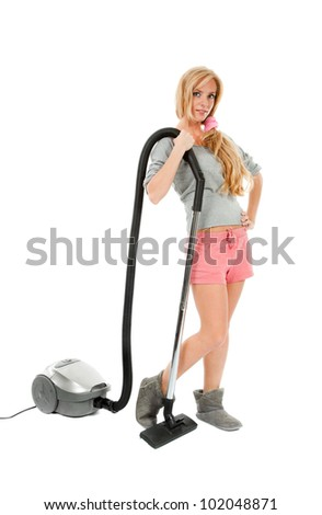 beauty housewife with vacuum cleaner isolated on white - stock photo