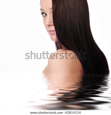 beauty in portrait of pretty attractive young girl with long brown hairs