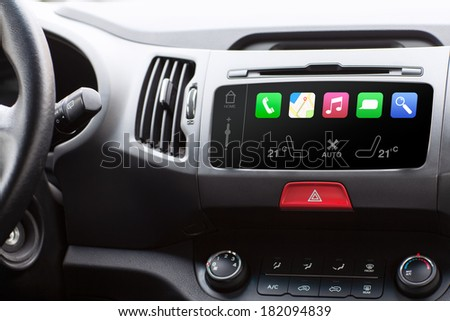 beauty in the car and touch play auto smart system  - stock photo