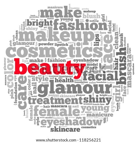 Beauty info-text graphics and arrangement concept on white background (word cloud) - stock photo