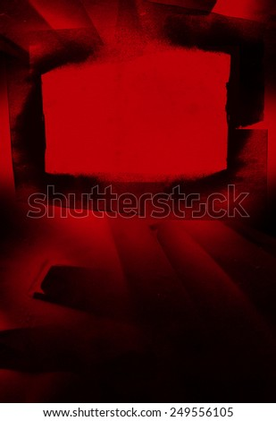 beauty inky red frame with copy space - stock photo