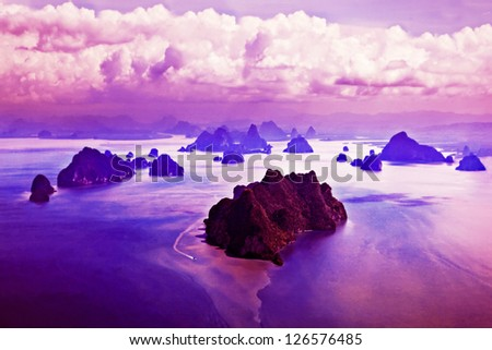 Beauty islands, view from the plane - stock photo