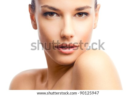 Beauty isolated on white - stock photo