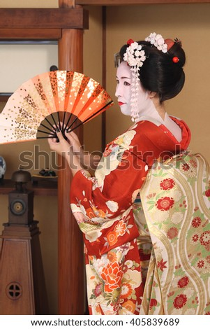 Beauty Japanese Geisha studio shot