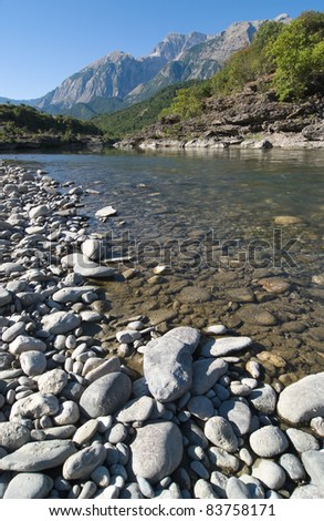 beauty landscape of Vjosa river in southern Albania - stock photo