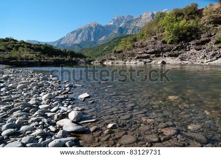 beauty landscape of Vjosa river in southwestern Albania - stock photo