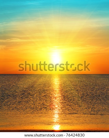 beauty landscape with sunrise over sea - stock photo