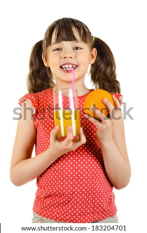 beauty little girl, hold orange and   juice, on white background, isolated - stock photo