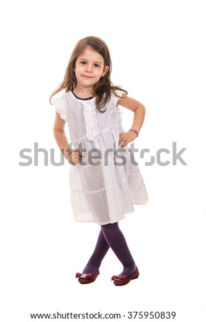 Beauty little girl in white dress posing isolated  on  white background