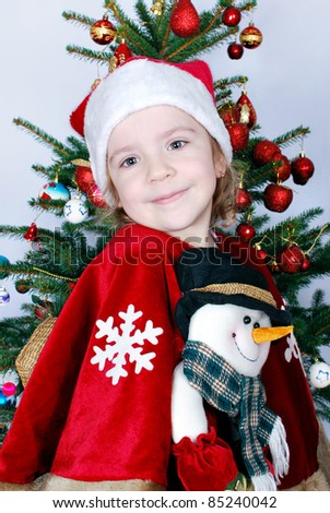 beauty little girl Santa Claus