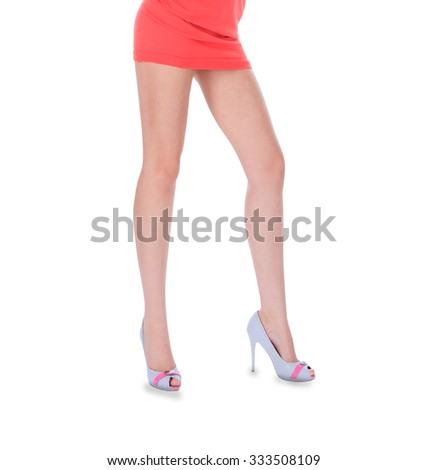 Beauty long woman legs in high heeled shoes - stock photo