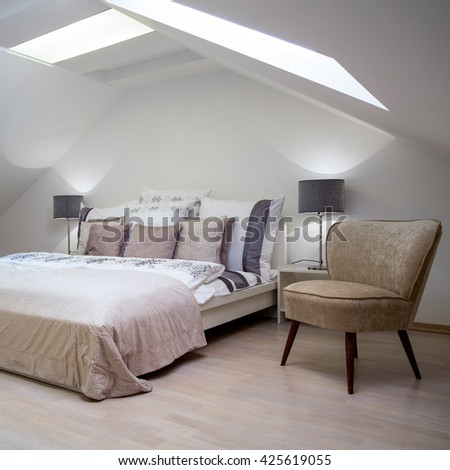 Beauty luxury hotel room with double bed