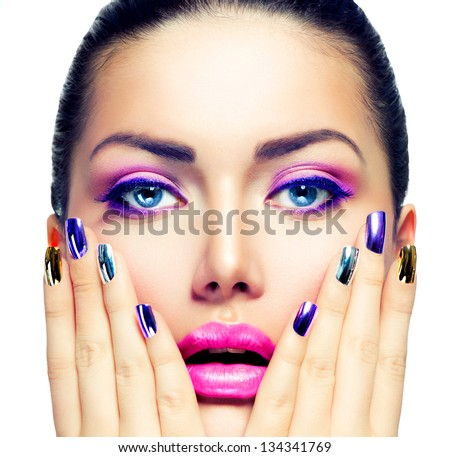 Beauty Makeup. Purple Make-up and Colorful Bright Nails. Beautiful Girl Close-up Portrait - stock photo