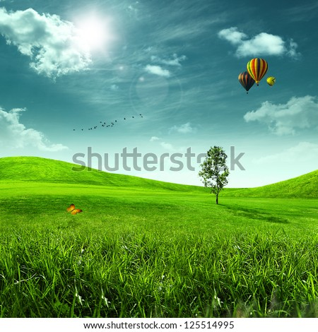 Beauty meadow. Abstract summer landscape for your design - stock photo