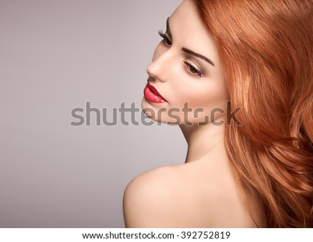 Beauty model portrait nude woman, eyelashes, perfect skin, natural makeup, red lips, fashion model. Gorgeous sensual attractive pretty redhead sexy model girl, shiny wavy hair.People face closeup, spa - stock photo
