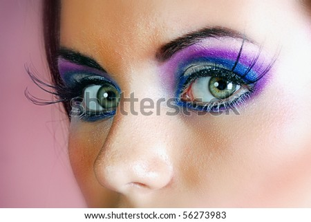 Beauty model with color makeup