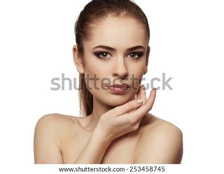 Beauty model woman face. Perfect skin. Professional makeup. Facial therapy and treatment.  - stock photo