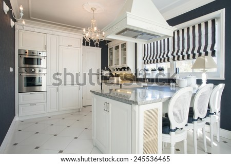 Beauty modern kitchen interior with white furniture - stock photo