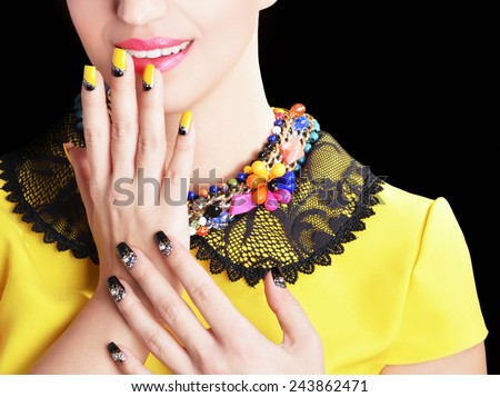 beauty nails , perfect makeup and jewelry.  - stock photo