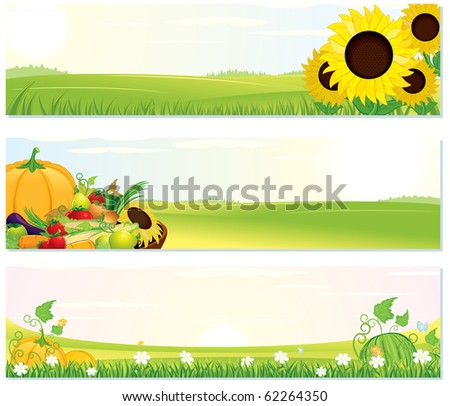Beauty Nature banner set -illustration with rural landscape and ripe harvest - stock photo