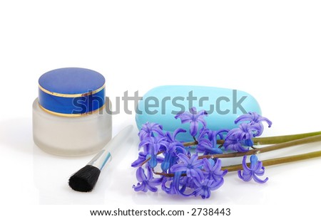 beauty objects in white background ( body care concept)