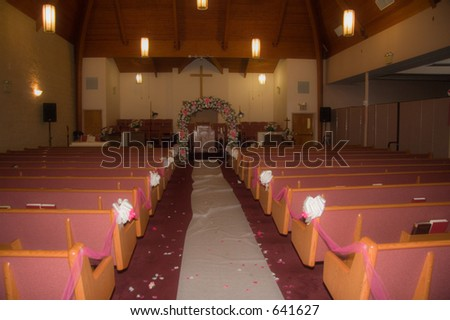 Beauty of a Brooklyn, New York Church after the wedding ceremony. - stock photo