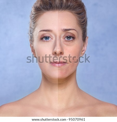 Beauty of a woman, photo retouch/ Close up portrait of a beautiful brunette woman with blue eyes. Left side of the image is retouched to make her more beautiful and the right side is not processed - stock photo
