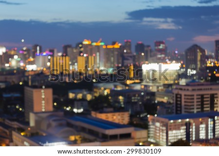 Beauty of blurred city light during twilight