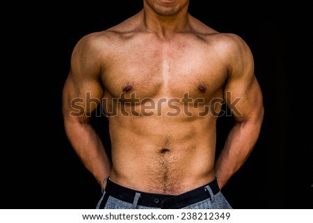 beauty of bodybuilder - stock photo