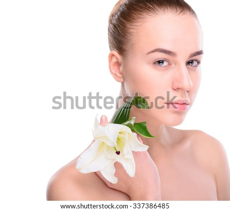 Beauty of health young woman with lily. Isolate on white background