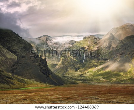 beauty of iceland island, dramatic landscape - stock photo