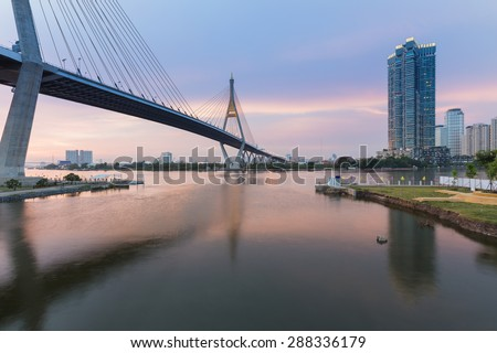 Beauty of of sunset at Suspension bridge (Bhumibol bridge) located in central of Bangkok Thailand