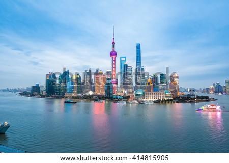 beauty of the east China metropolis ,shanghai skyline in nightfall - stock photo