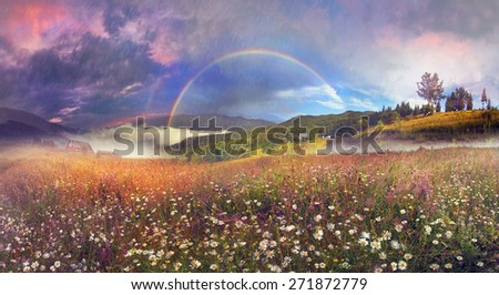 Beauty panorama of mountain alpine meadows in Transcarpathia - is the abundance of vegetation on the background of beautiful tops and interesting weather conditions - stock photo