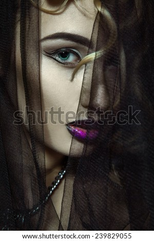 beauty photo of sexy adult woman looking at camera. with healthy skin make up and hairstyle. studio shot - stock photo