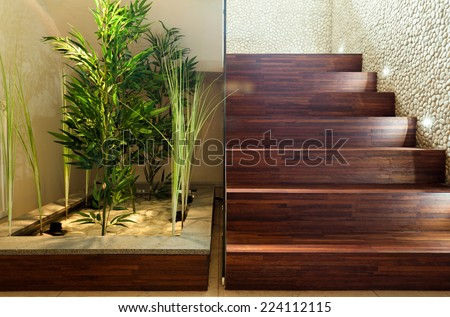 Beauty plants in hall and wooden stairs - stock photo