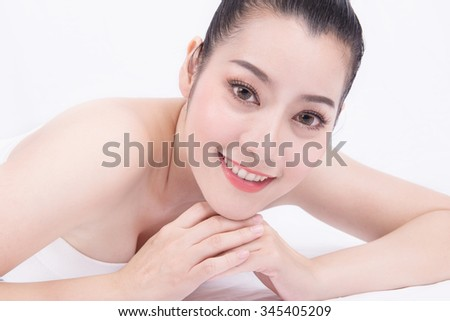 Beauty Portrait. Beautiful spa asian woman. Beautiful asian woman face and Perfect skin. keep pore details. the act of looking directly into one another's eyes.