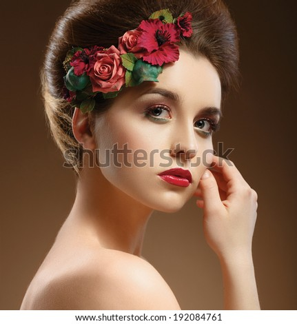 Beauty Portrait. Beautiful Woman Touching her Face. Perfect Fresh Skin. Pure Beauty Model. Youth and Skin Care Concept