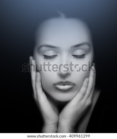 Beauty Portrait. Face of Beautiful Young Woman with Eyes Closed