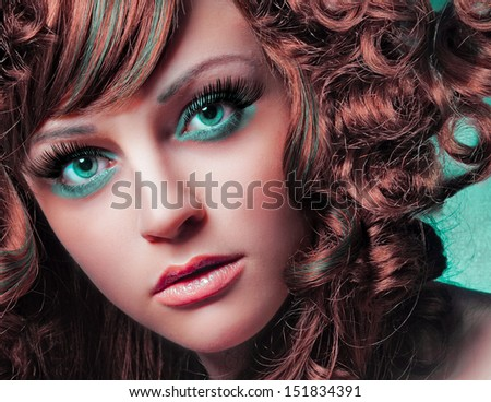 beauty portrait green eyes - stock photo