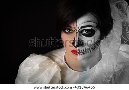 Beauty Portrait halloween bride - stock photo