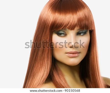 Beauty Portrait.Healthy Hair.Holiday makeup - stock photo