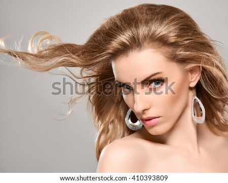 Beauty portrait nude woman, blue eyes, long eyelashes, perfect skin, natural makeup, fashion. Sensual attractive pretty blonde sexy model girl, shiny wavy hair. People face closeup, spa, copy space - stock photo