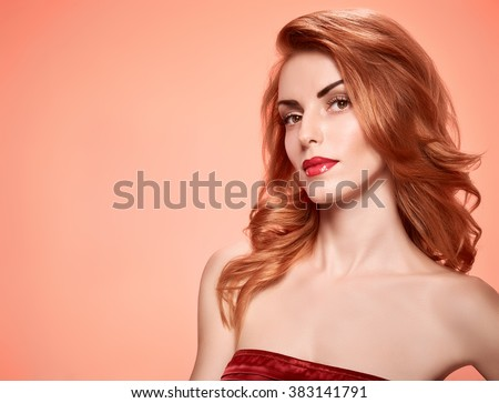 Beauty portrait nude woman, eyelashes, perfect skin, natural makeup, red lips, fashion. Gorgeous sensual attractive pretty redhead sexy model girl on pink, shiny wavy hair. People face, spa, copyspace - stock photo