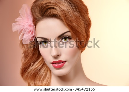Beauty portrait nude woman smiling, eyelashes, perfect skin, natural makeup, fashion. Sensual attractive redhead sexy model girl with bow on pink, shiny straight hair.People face closeup,spa,copyspace - stock photo