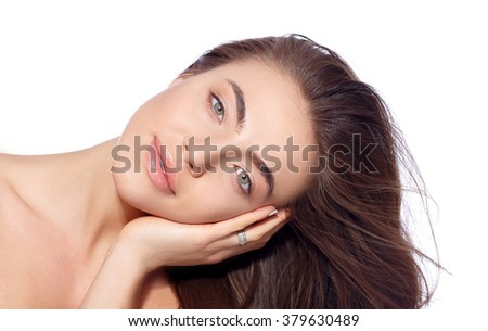 Beauty portrait of a beautiful girl Nude makeup. Beautiful Spa model Girl with Perfect Fresh Clean Skin. - stock photo